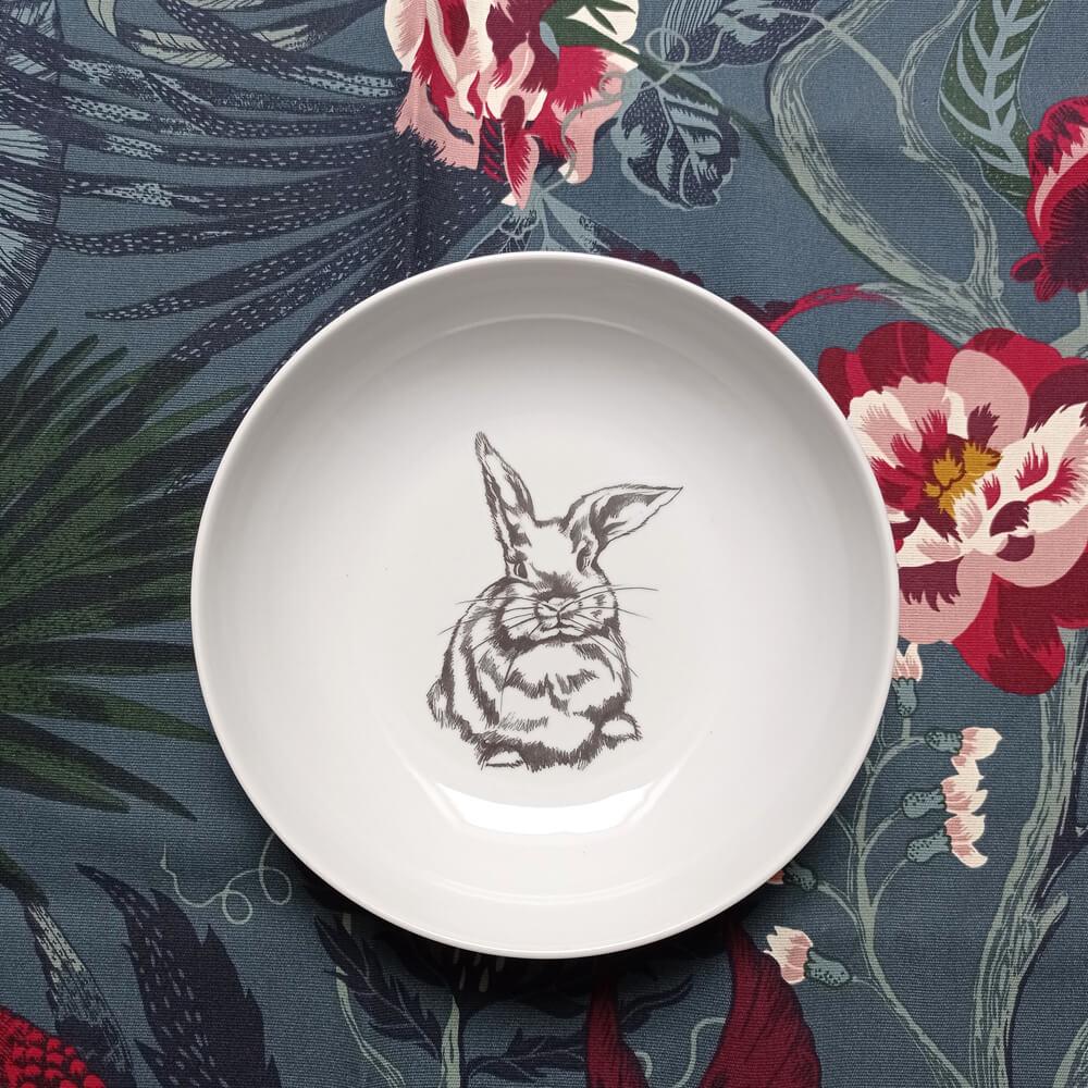 głęboki talerz z królikiem