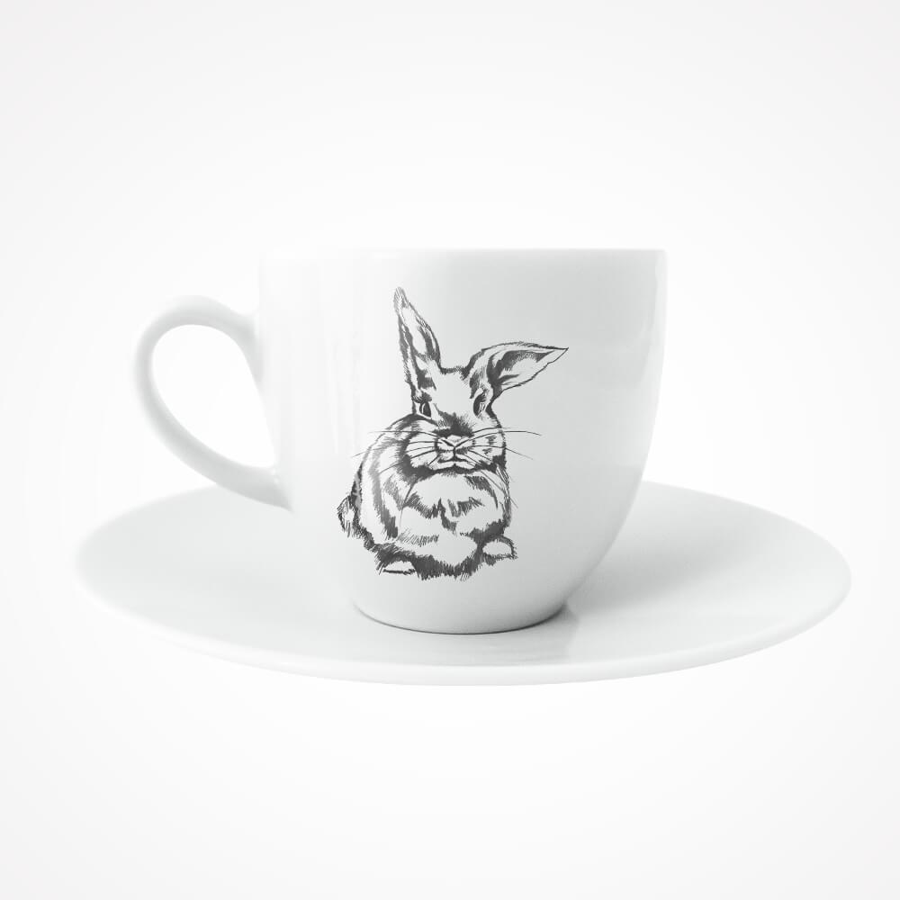 filiżanka ze spodkiem z królikiem