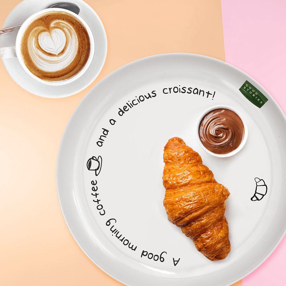 duży talerz obiadowy z nadrukiem good morning coffee