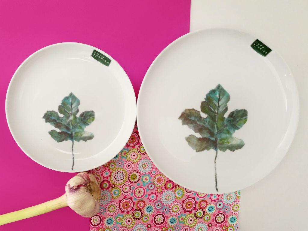 duzy talerz obiadowy z liściem