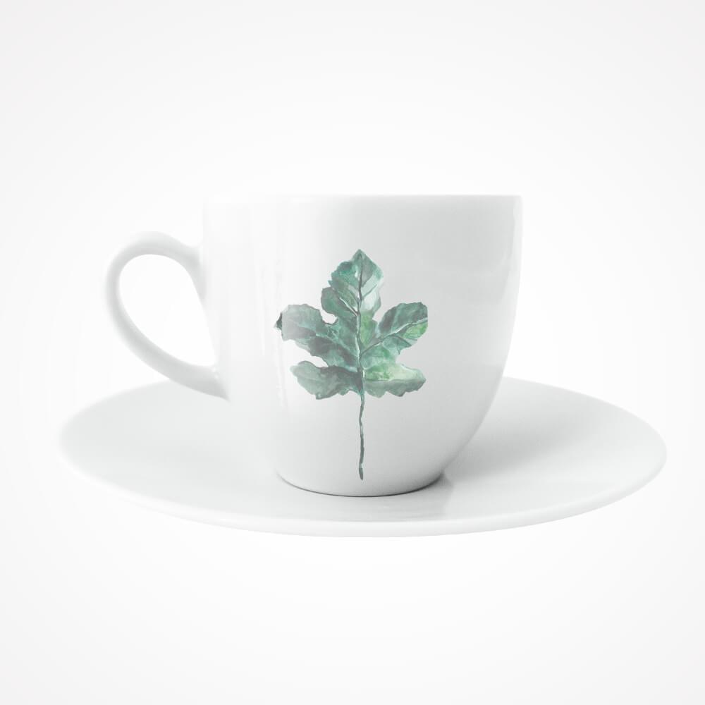 filiżanka z liściem