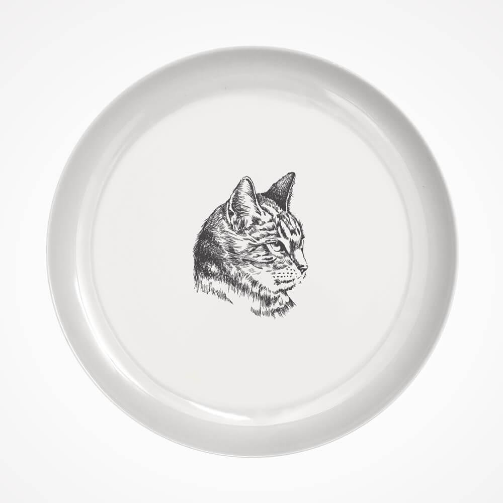 duży talerz z kotem