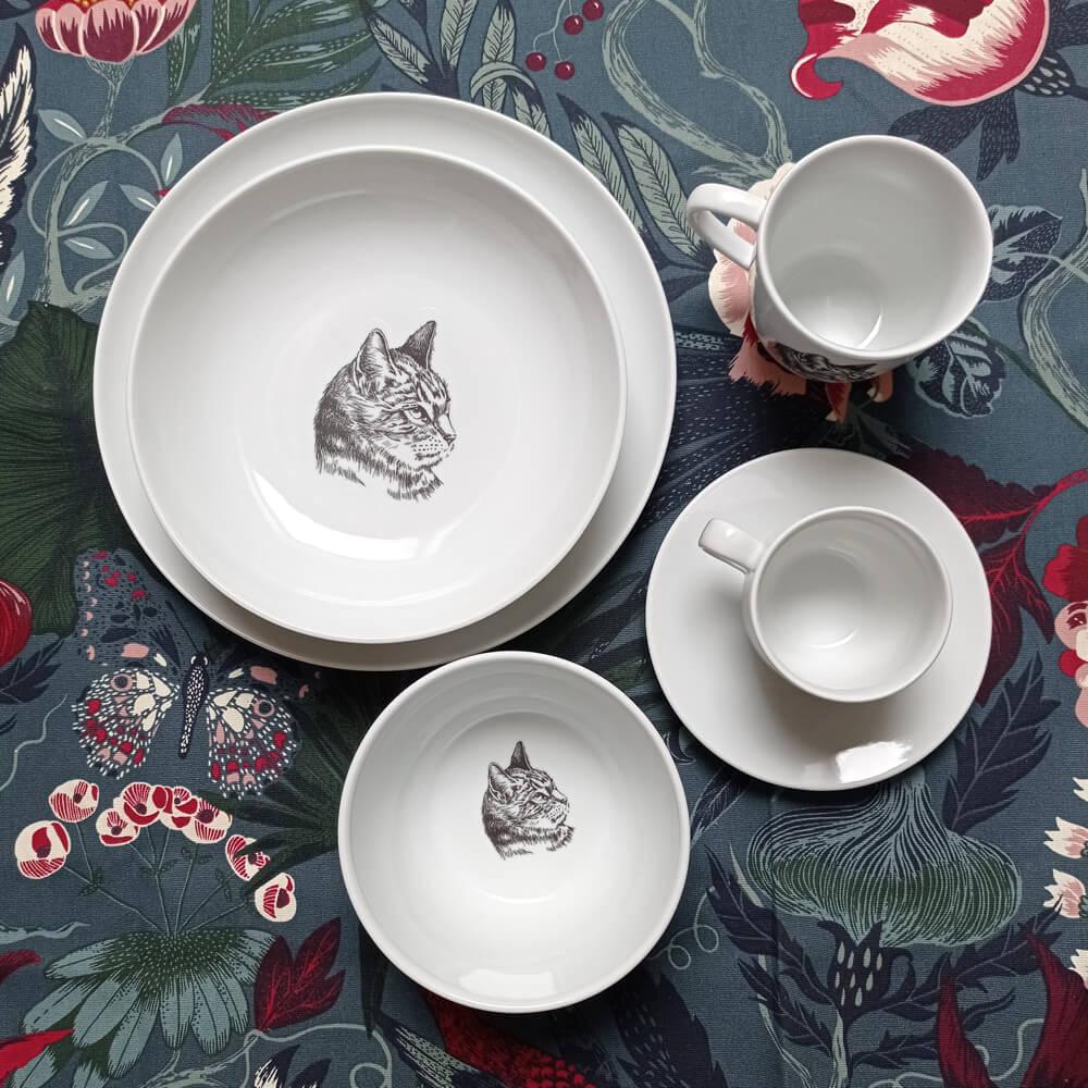 zestaw porcelany z kotem