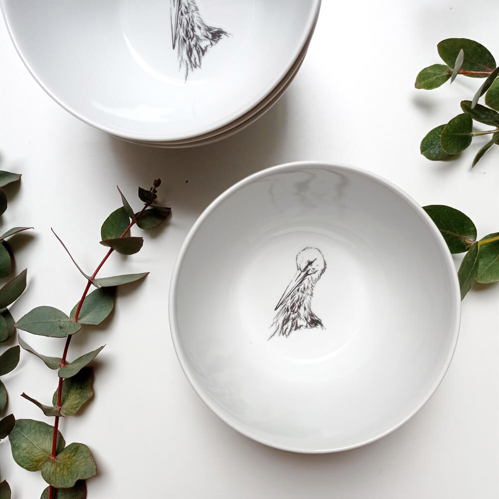 miseczka porcelanowa z bocianem